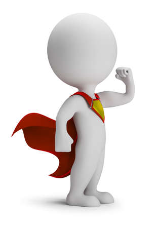 3d small person - brave superhero a cloak in the developing. 3d image. White background. Standard-Bild