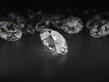 Chosen diamond against other diamonds. 3d image. Black reflective background.