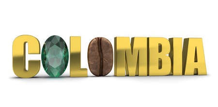 3d generated image. Colombia gold lettering. Emerald and coffee bean instead of letters