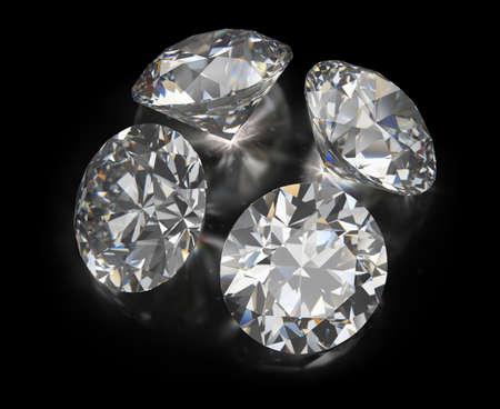 Four diamonds. 3d image. Black reflective background.