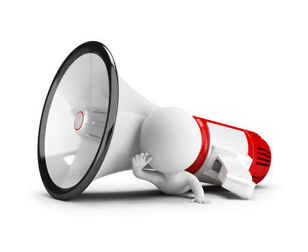 3d small people - pressed by a megaphone. 3d image. White background. Standard-Bild