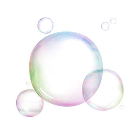 Soap bubbles. 3d image. Isolated white background. Standard-Bild