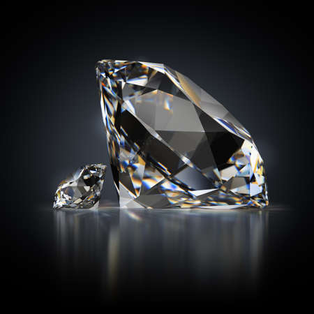 3d generated image. Small and large diamond on a black reflective background. Standard-Bild