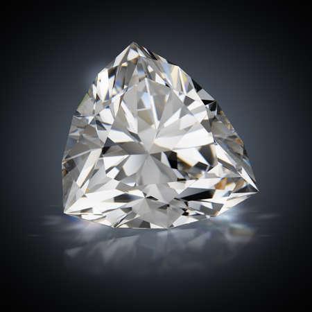 3d generated image. Diamond trillion on a black reflective background.
