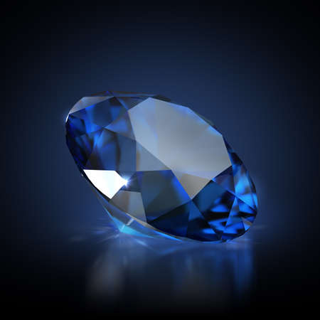 Sapphire on a dark reflective background. 3d generated image.