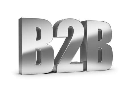 3d generated image. B2B metal lettering. White background.