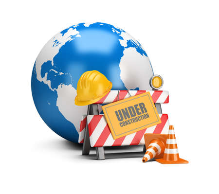 World is under construction. 3d image. White background. Planet Earth.