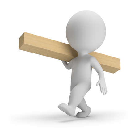 3d small person carries a wooden block. 3d image. White background.