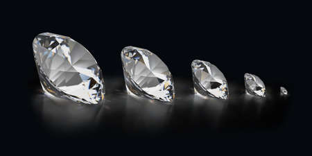 3d generated image. Diamonds of different sizes on a black reflective background.