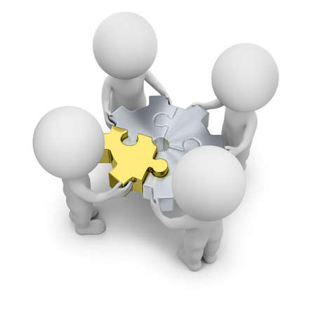 3d small people - team with puzzles gear. 3d image. White background.