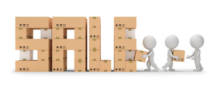 3d small person make out the inscription SALE. Unloading boxes. 3d image. White background.