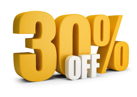 30 percent OFF. 3d image. White background.