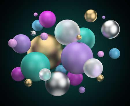 multicolored balls. 3d generated image. Dark background. Standard-Bild
