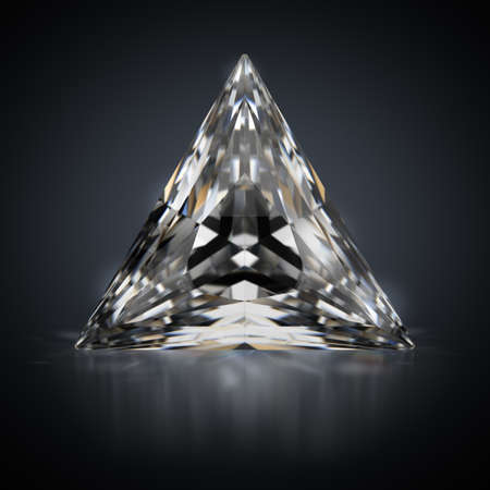 3d generated image. Triangle diamond on a black reflective background.