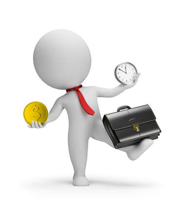 3d small people - multimanager balances with briefcase, gold coin and watch. 3d image. White background. Standard-Bild