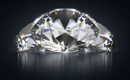 Three diamonds on a black reflective background. 3d generated image.