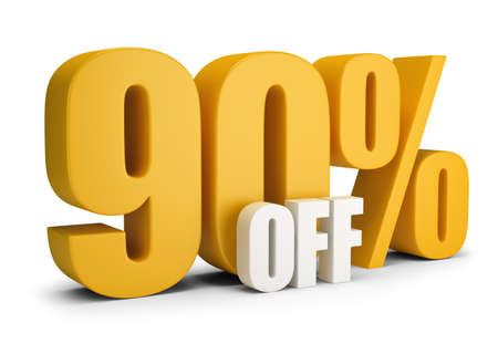 90 percent OFF. 3d image. White background.