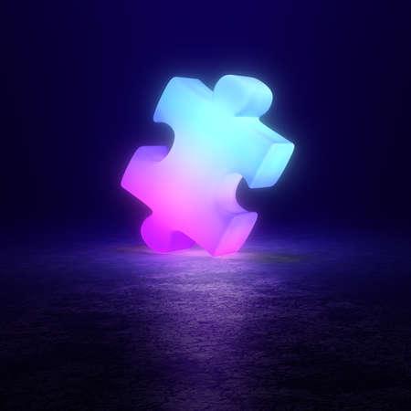 Light puzzle on a dark reflective background. 3d generated image. Standard-Bild