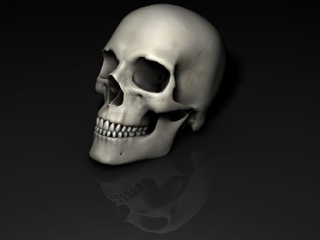 Skull oblique image with reflection on black surface and background