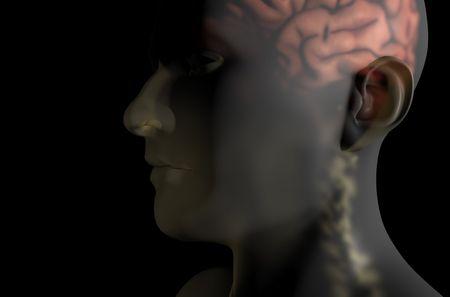 Hersenen en de ruggengraat schuine 3D grafische transparante huid overlaybestand op zwarte achtergrond Stockfoto