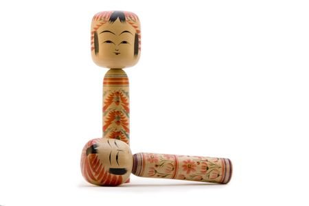 Japanese Kokeshi dolls photograph on white background Stok Fotoğraf