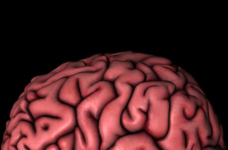 Human brain gyri close-up anatomical view 3D graphic on black background Stok Fotoğraf