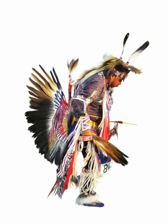 indio americano: Sundancer pintura digital de un nativo indio americano natural de pow-wow bailar�n en plena regalia.