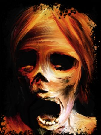 zombie: Corpse screaming mummified face digital painting graphic Stock Photo