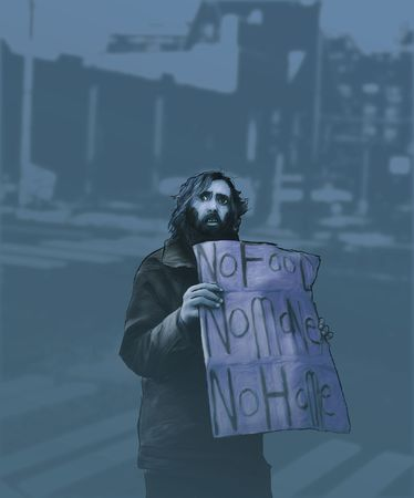 a digital art painting of a homeless man holding a sign. (urban setting.)