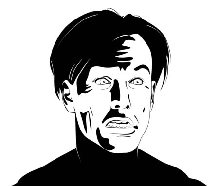 awkward: black and white clipart illustration of a mans face bearing an awkward expression