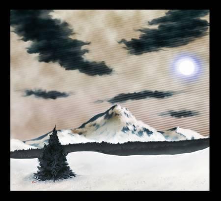 冬のシーンのデジタル絵画。雪カバー山曇り空の下で。
