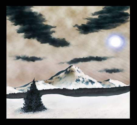 a digital painting of a winter scene. (snow covered mountain under a cloudy sky.)