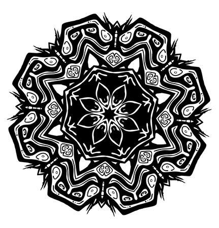 黒と白の部族グリフ シンボルのティキ種子 clipart イラスト