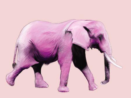 デジタル絵画はピンクの象を歩く