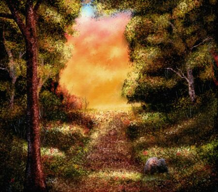 a digital painting of a warm autumn forest landscape during sunset.