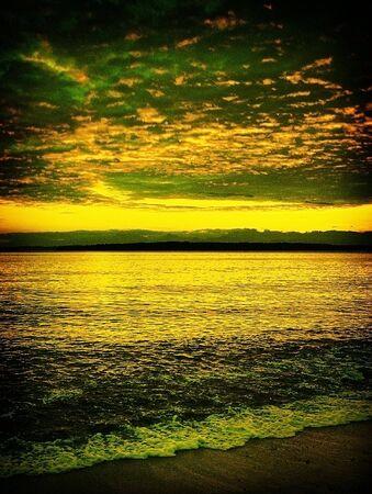 鮮やかな黄色金風景。ビーチ、空と山です。