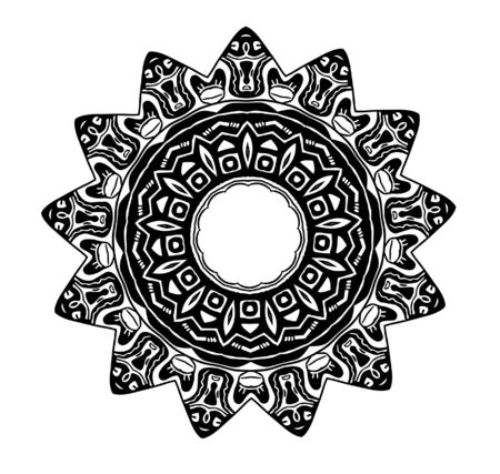 BLOOD STAR clipart illustration of a black and white tribal glyph symbol