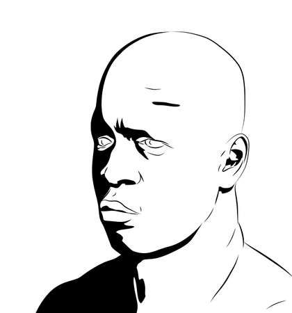 a clipart illustration of an overweight african-american male face bearing an expression of sadness. illustration