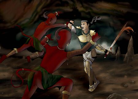 a fantasy hero in the heat of battle against two red cave goblins.