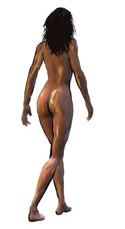 artistic nude: a digital painting of a nude woman in mid-walk from behind.