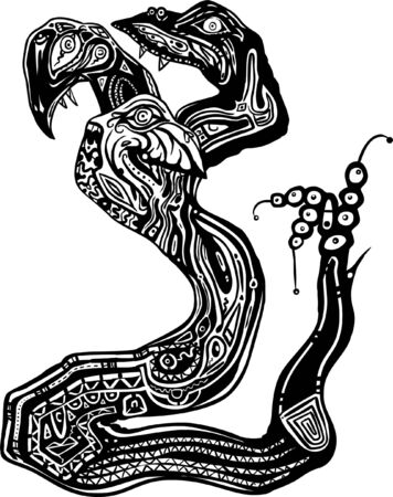 hydra: abstract clipart illustration of a 3 headed hydra serpent