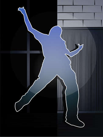 ledge: a silhouette of a man jumping from a window ledge