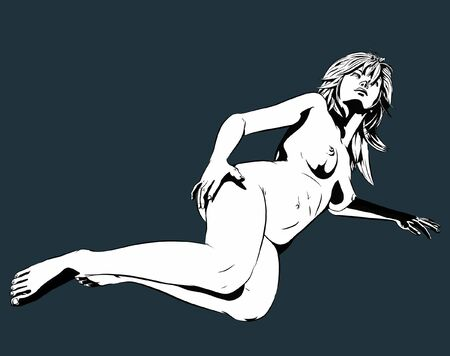 breast comic: A sexy nude model lies on the floor. (Comic-art stylized.)