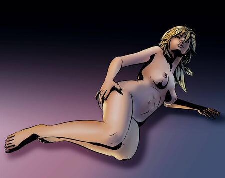 artistic nude: A sexy nude model lies on the floor. (Comic-art stylized.)