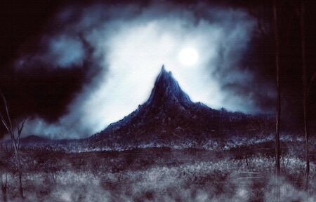 a digital painting of a cold desolate mountain during a winter storm.