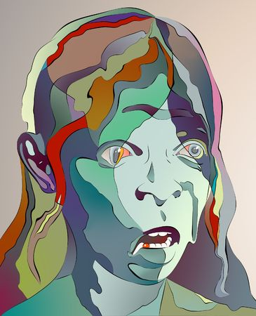 A colorful abstract portrait of a eldery womans face.