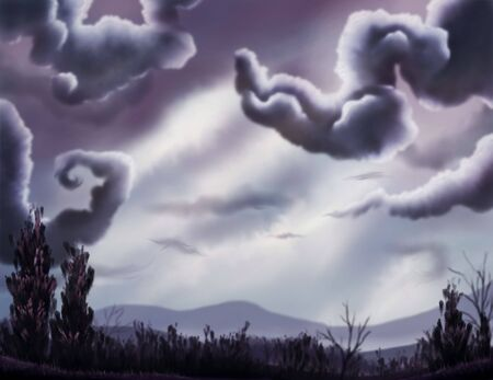 moody: A digital painting of a moody blue landscape filled with dark winding clouds and soft serene hills. Stock Photo