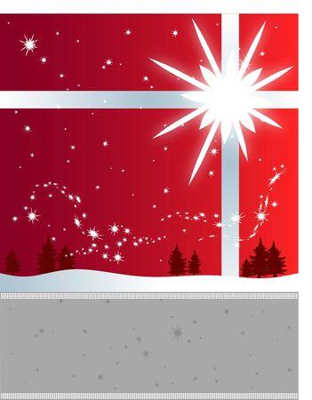 冬の休日チラシの背景に明るい星、雪片