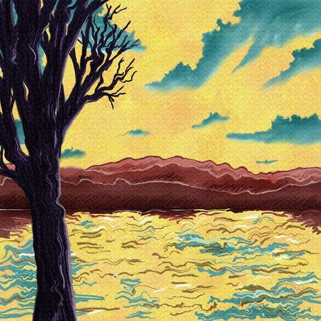 digital painting of a surreal landscape with an old tree in front of a wavy lake and hills