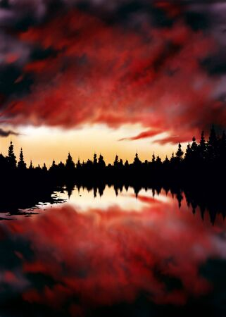digital painting of a firey dusk sky reflected in a pool of water surrounded by dark pines
